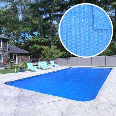Heavy-Duty 18 ft. x 36 ft. Rectangular Blue Solar Cover Pool Blanket