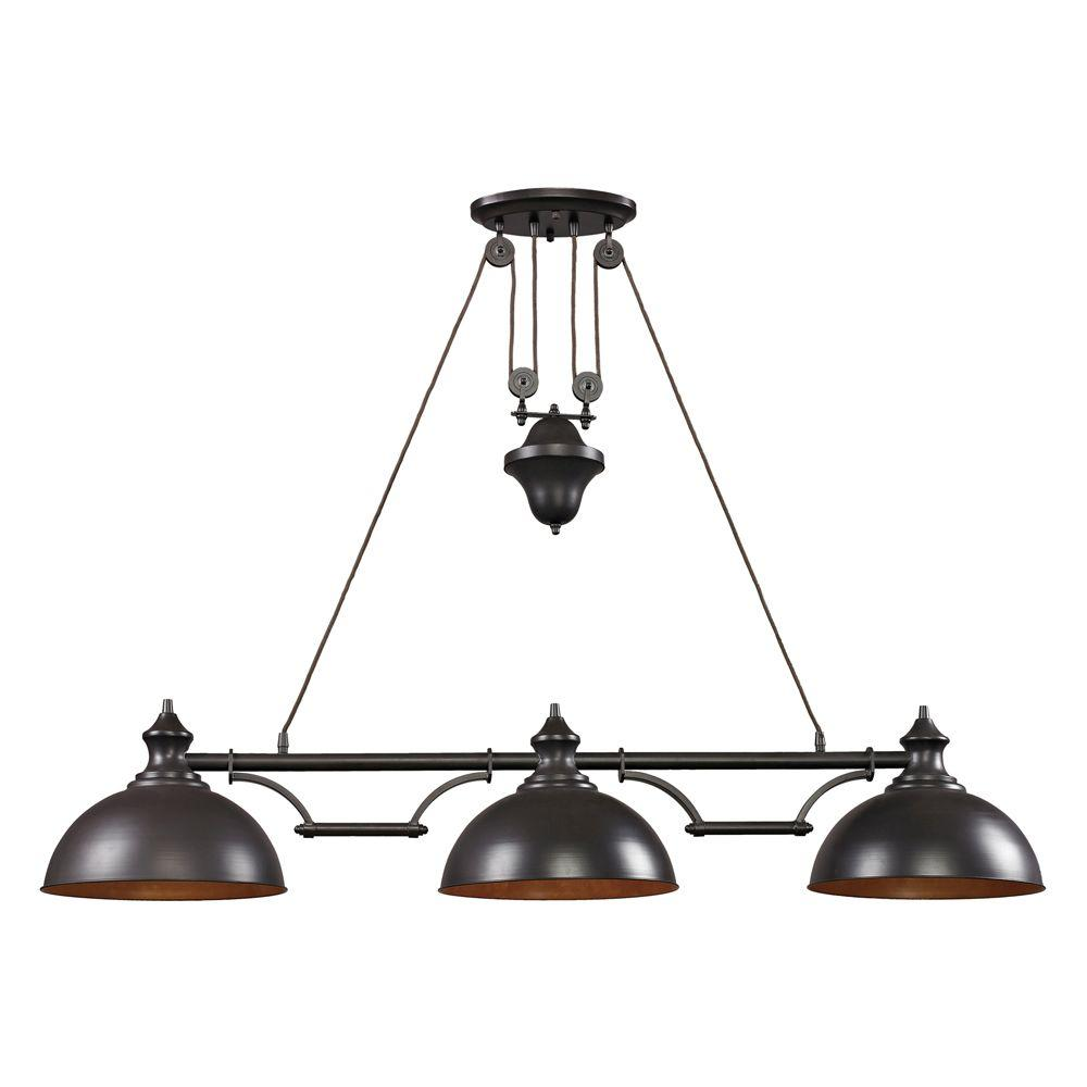 An Lighting Farmhouse 3 Light Oiled Bronze Billiard With Metal Shades