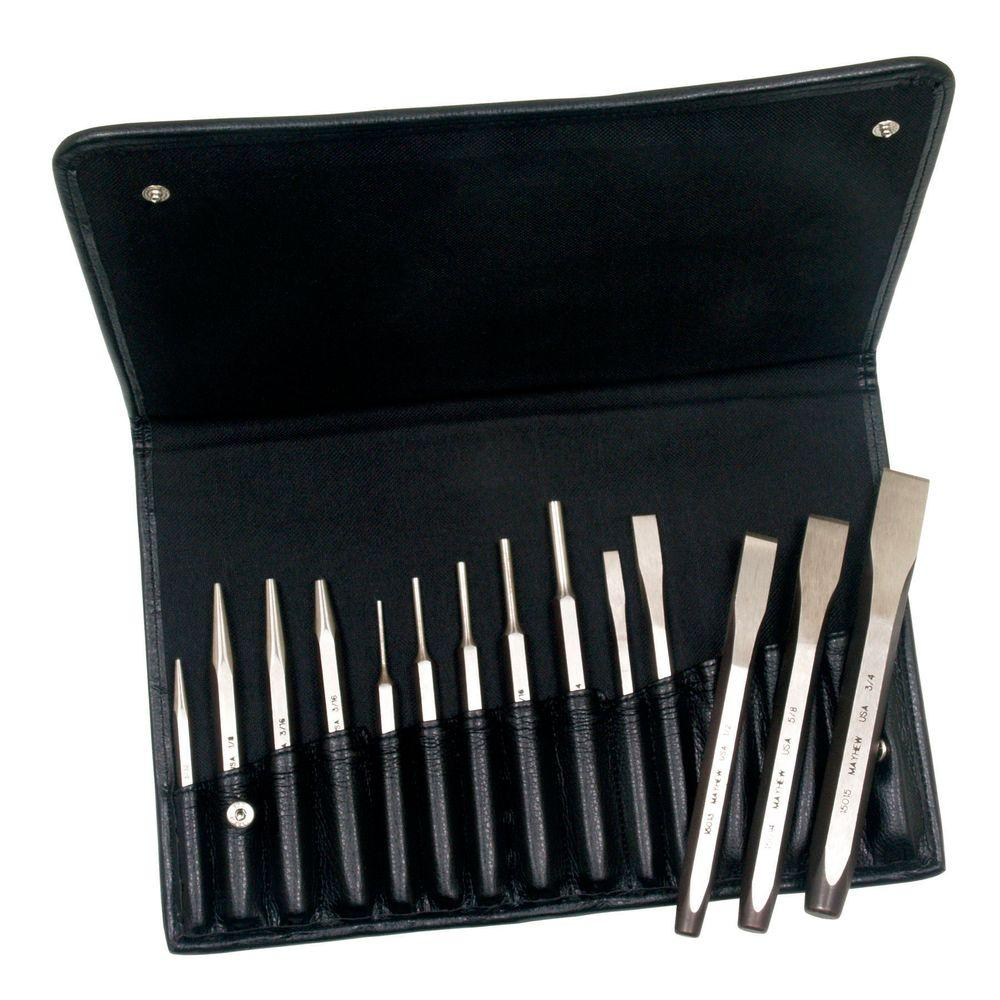 Punch & Chisel Set and Leather Bag (14-Piece)