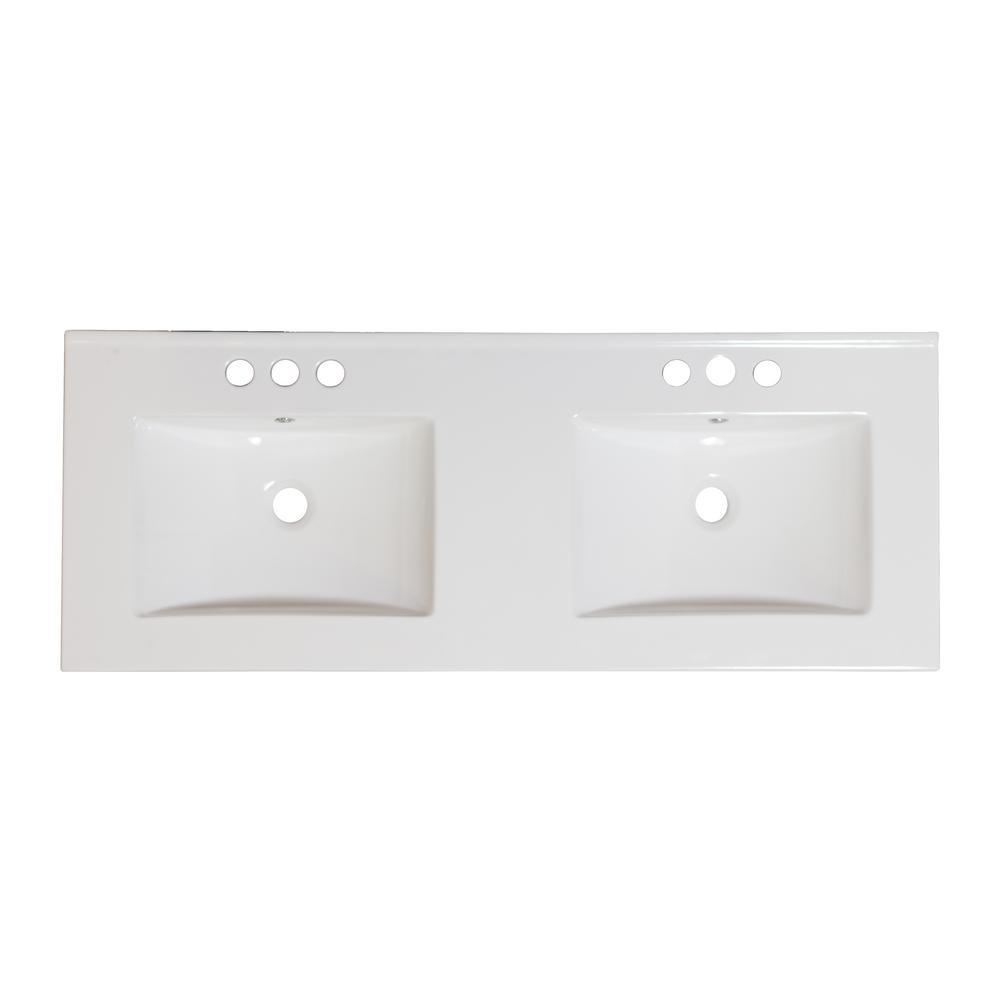 16 Gauge Sinks 59 In W X 18 In D Bath Vanity In White With Ceramic Vanity Top In White With White Basin 16gs 19536 The Home Depot