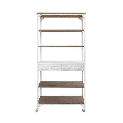 Urban Homestead 78 in. Brown/White Metal/Wood Shelf with Caster Wheels
