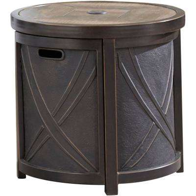 25 in. Aluminum Outdoor Side Table with Tile Tabletop and Umbrella Hole