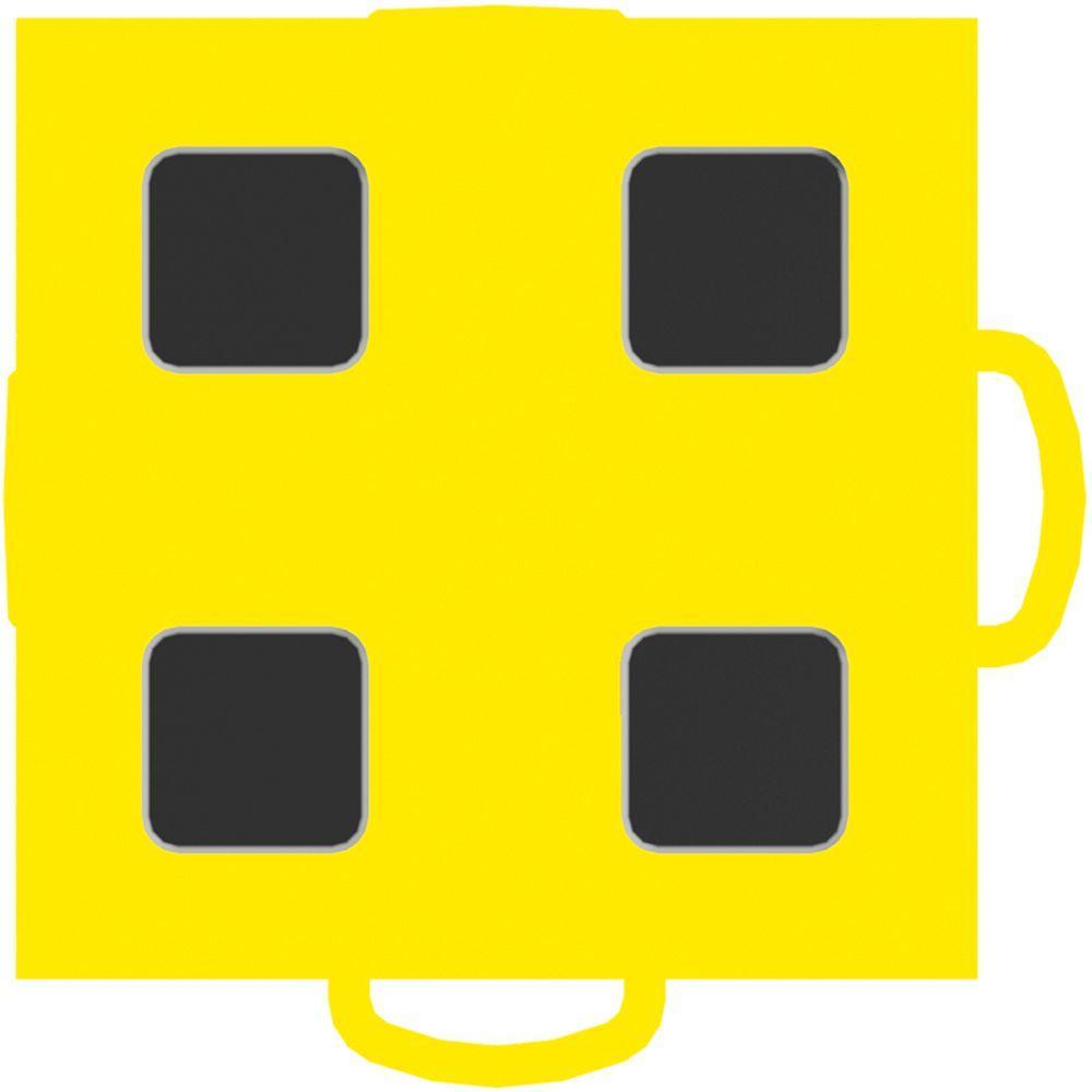WeatherTech TechFloor 3 in. x 3 in. Yellow/Black Vinyl Flooring Tiles (4-Pack)