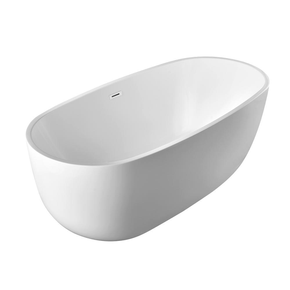 Vanity Art Grenoble 59 in. Acrylic Flatbottom Center Bathtub in White