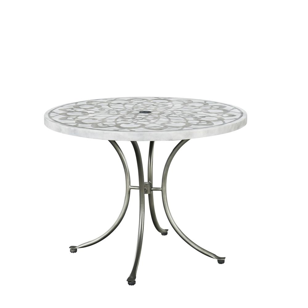Home Styles Capri Gray Round Concrete Stenciled Outdoor Dining Table - Concrete and metal dining table