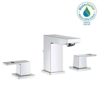 Eurocube 8 in. Widespread 2-Handle Low-Arc 1.2 GPM Bathroom Faucet in StarLight Chrome
