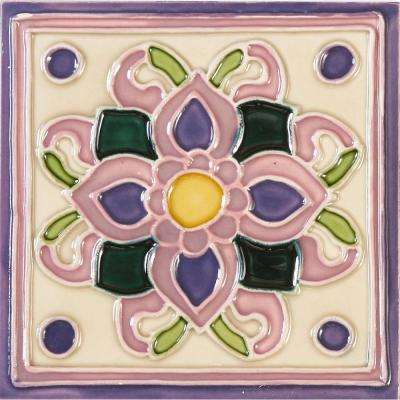 Hand-Painted Ceramic Violetas 6 in. x 6 in. x 6.35 mm Glazed Ceramic Wall Tile (2.5 sq. ft. / case)