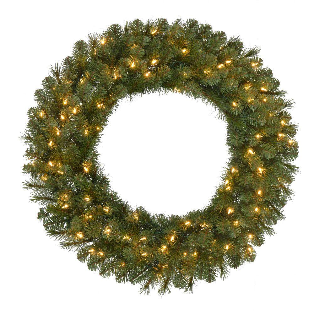 36 in pre lit led wesley pine artificial christmas wreath for Led wreath outdoor