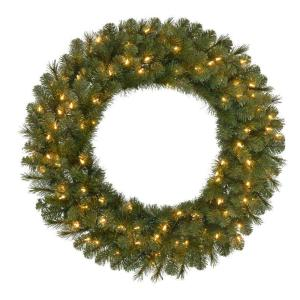 36 inch Pre-Lit LED Wesley Pine Artificial Christmas Wreath x 250 Tips with 100 UL Indoor/Outdoor Warm White... by