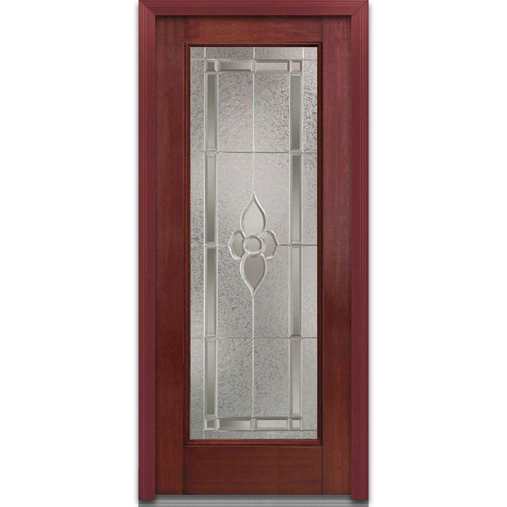 Milliken Millwork 36 in. x 80 in. Master Nouveau Right Hand Full Lite Decorative Classic Stained Fiberglass Mahogany Prehung Front Door