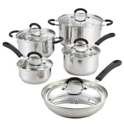 Cook N Co 10-Piece Stainless Steel Cookware Set in Black and Stainless Steel