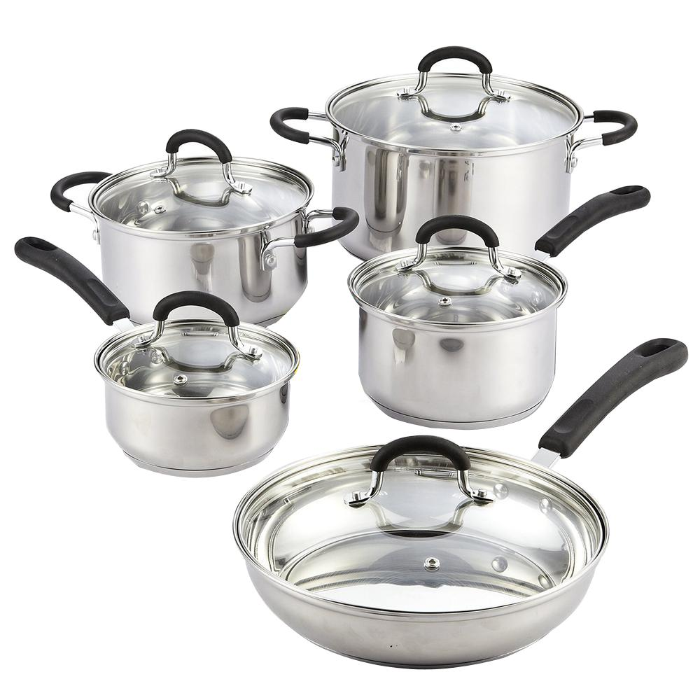 Cook N Home 10-Piece Silver Cookware Set with Lids