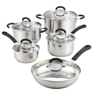 Cook N Home 10-Piece Silver Cookware Set with Lids by Cook N Home