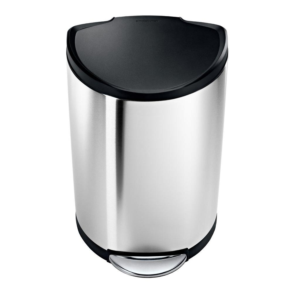simplehuman 40-Liter Brushed Stainless Steel Semi-Round Step-On Trash Can with Black Plastic Lid