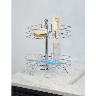 2 Tier Standing Adjustable Wire Caddy, Chrome Finish