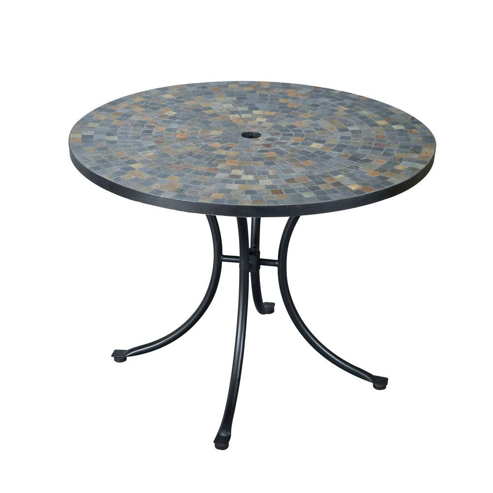 Round Slate Tile Top Patio Dining