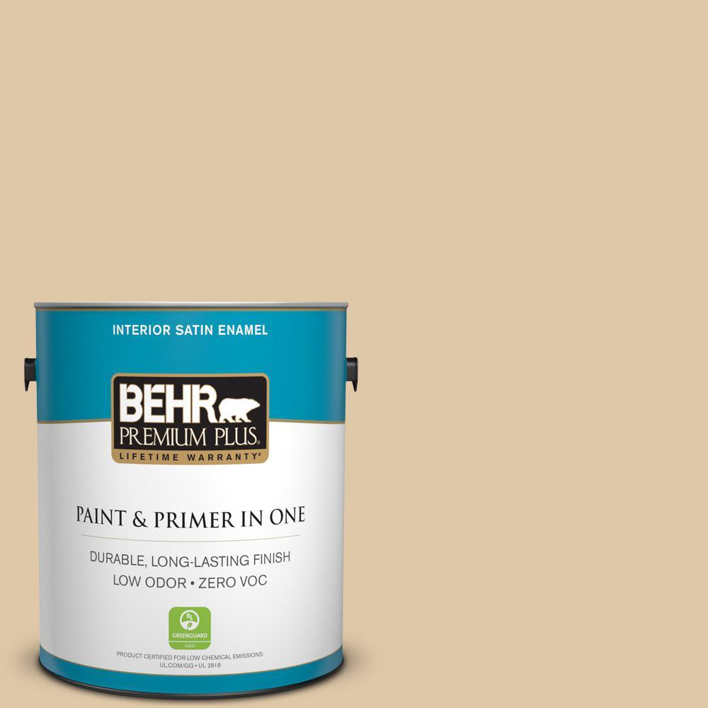 BEHR Premium Plus 1-gal. #PWL-82 Pita Bread Zero VOC Satin Enamel Interior Paint