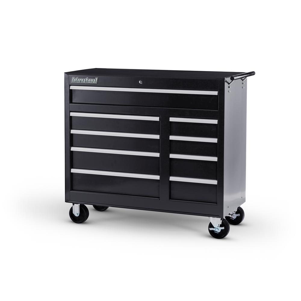 International 42 in. Workshop Series 9-Drawer Cabinet, Black