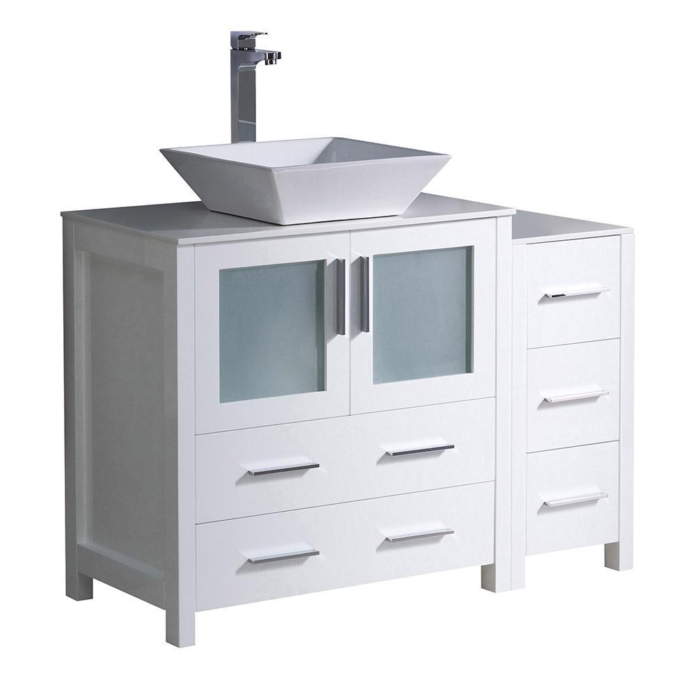 Fresca Torino 42 in. Bath Vanity in White with Glass Stone Vanity Top in White with White Basin