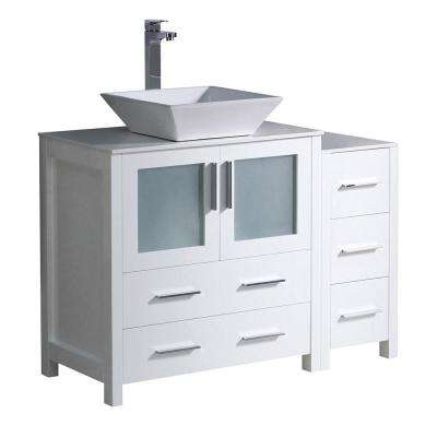 Torino 42 in. Bath Vanity in White with Glass Stone Vanity Top in White with White Basin