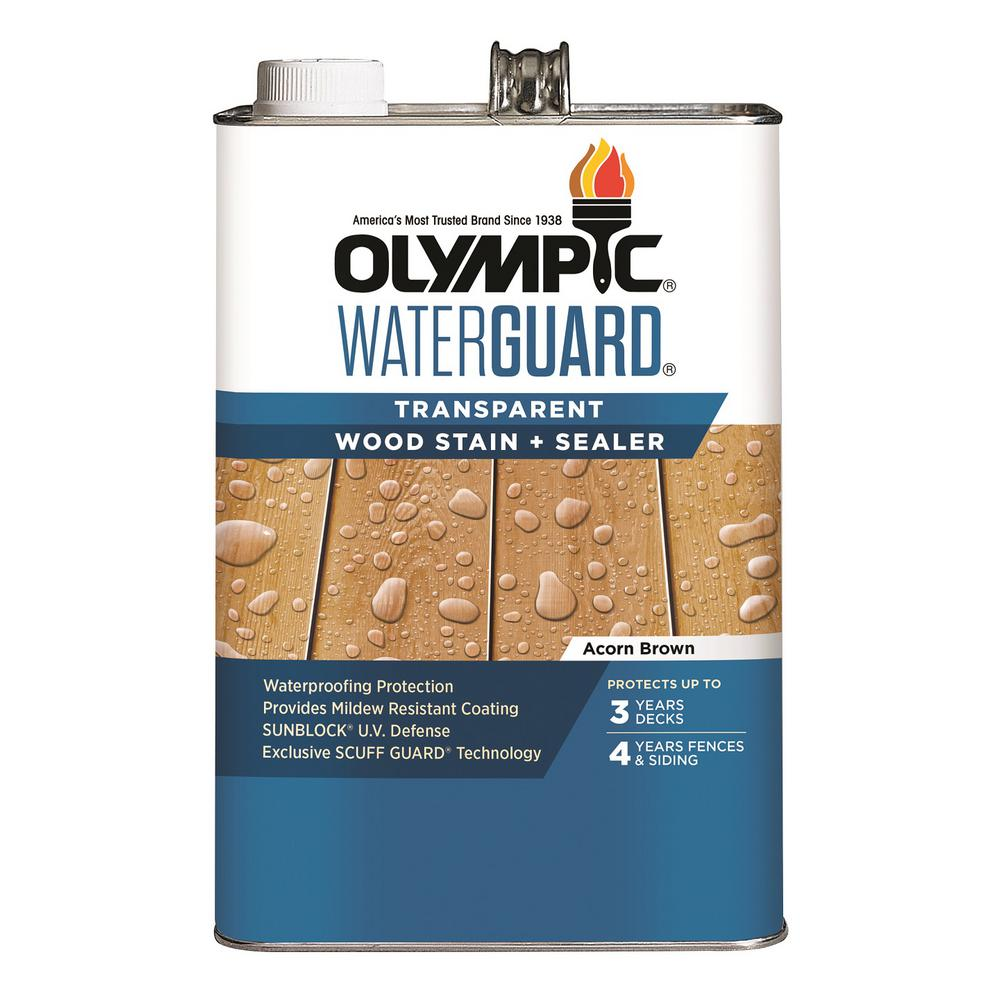 Olympic WaterGuard 1 gal. Acorn Brown Transparent Wood Stain and Sealer