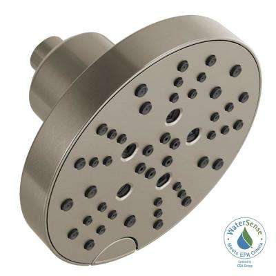 Pivotal 5-Spray H2OKinetic 6 in. Fixed Shower Head in Stainless
