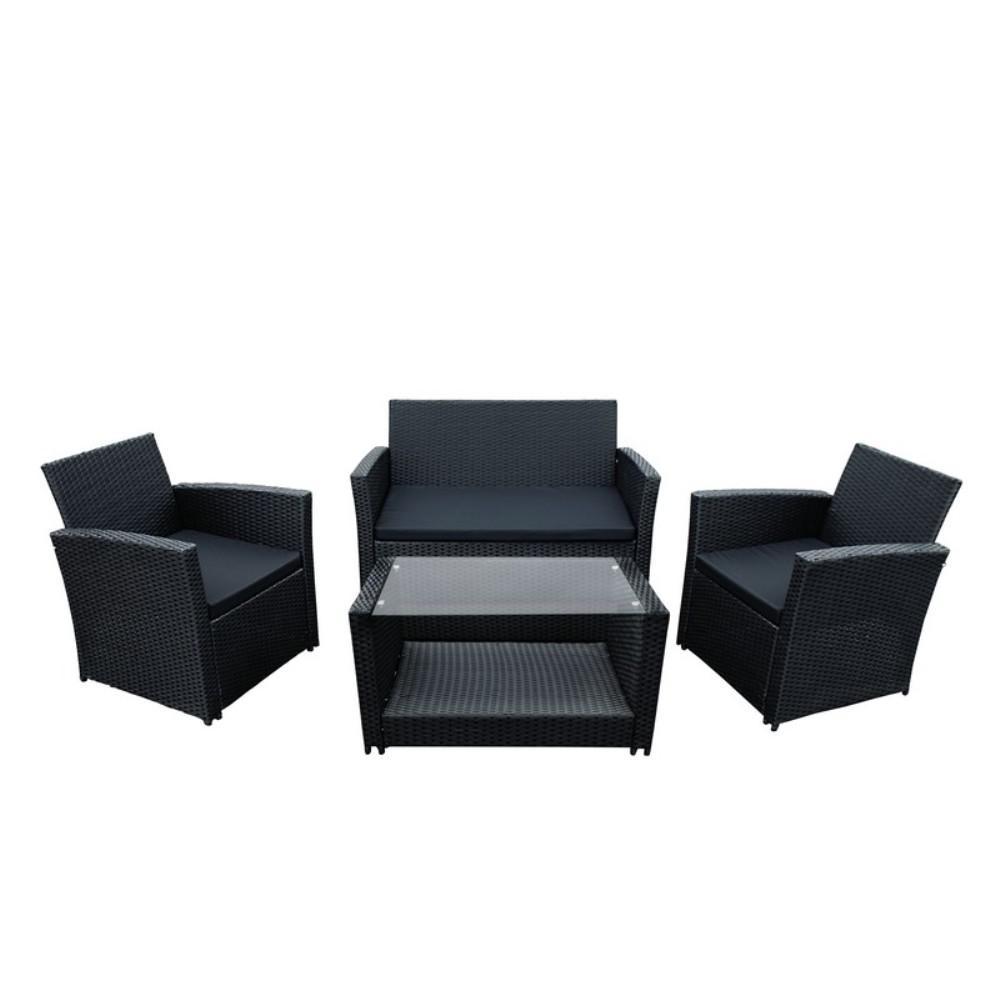 ALEKO Lipari 4-Piece Rattan Furniture Set In Black