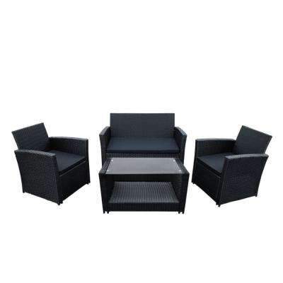 Lipari 4-Piece Rattan Furniture Set In Black