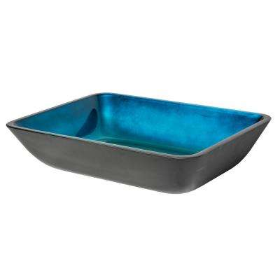 Rectangular Foil Glass Vessel Sink with Black Exterior in Turquoise