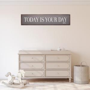 11 in. x 49 in. Dr. Seuss Today Is Your Day Quote Framed Wood Wall Decor