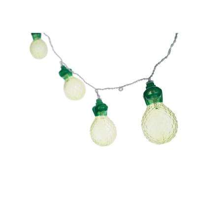 10-Light Green and Yellow LED Pineapple String Light