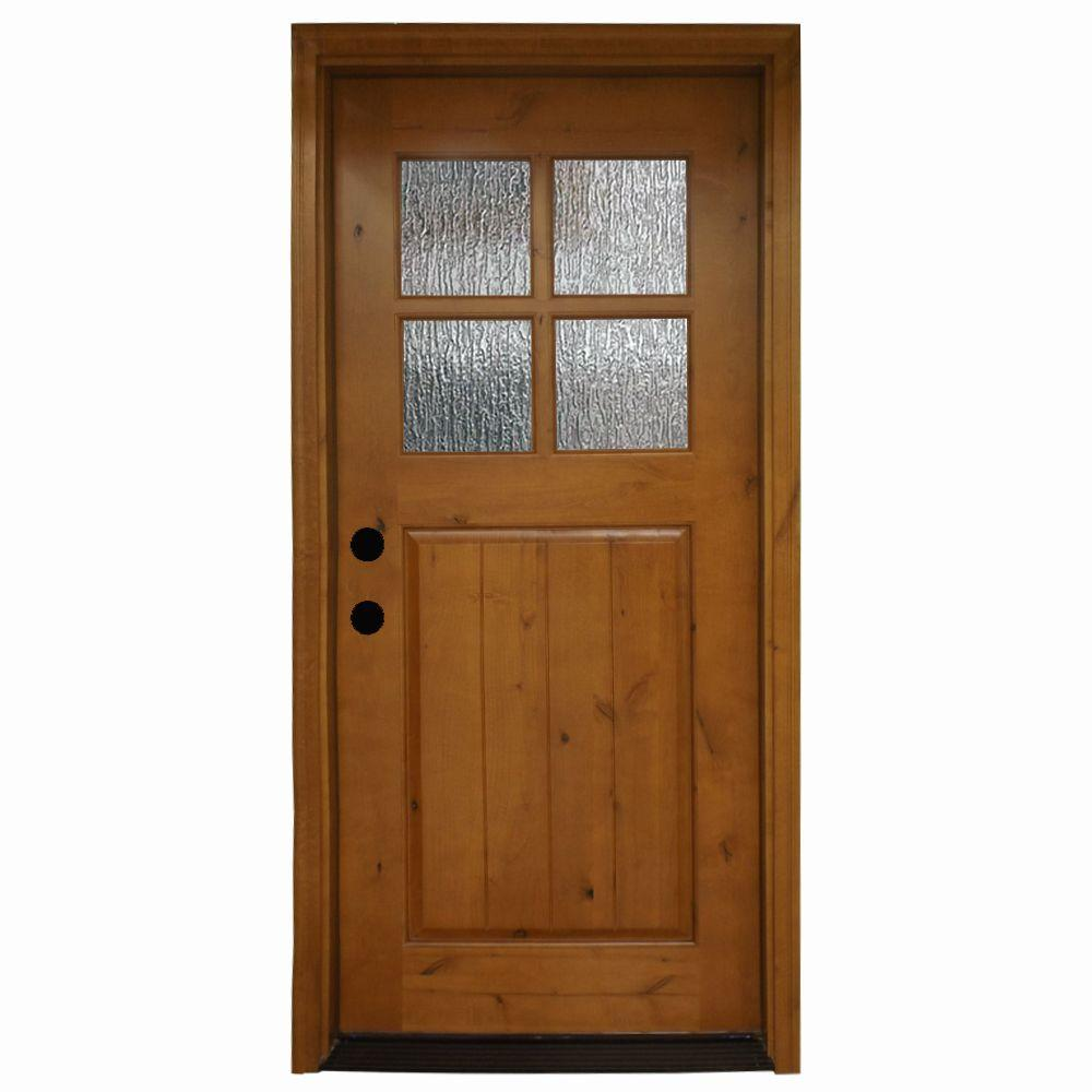 36 in. x 80 in. Cottage 4 Lite Rain Stained Knotty