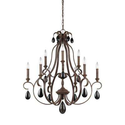 DeWitt 9-Light Weathered Iron Multi-Tier Chandelier Shade
