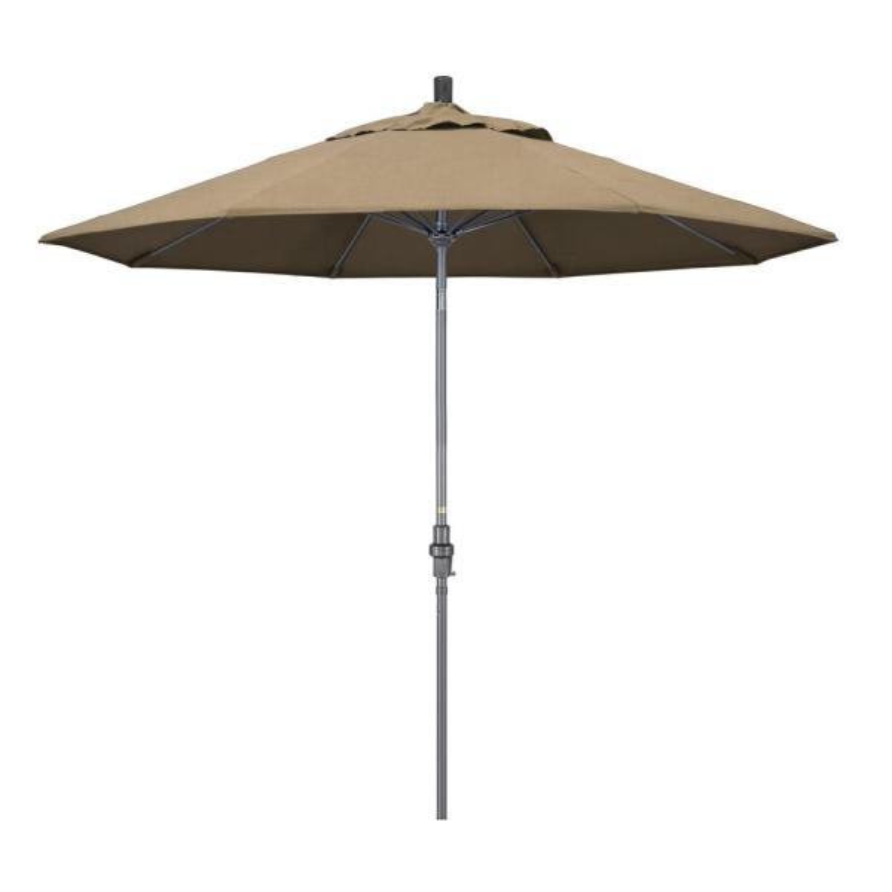 9 ft. Hammertone Grey Aluminum Market Patio Umbrella with Collar Tilt Crank Lift in Heather Beige Sunbrella