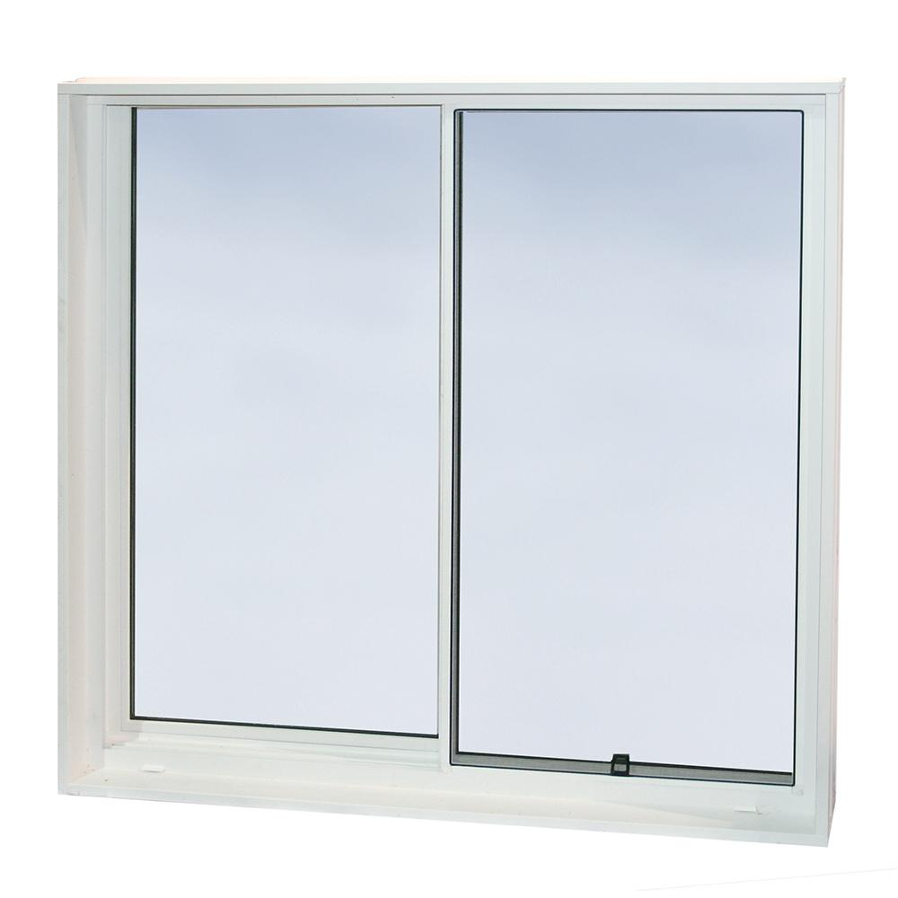 Wellcraft 48 in x 48 in egress slider vinyl window for Sliding glass windows