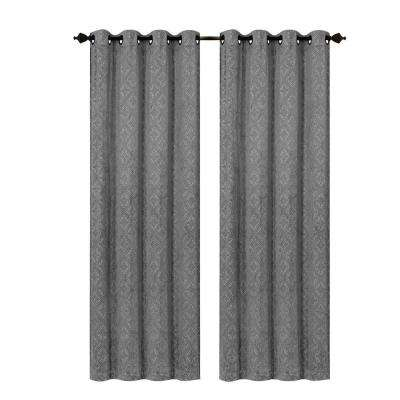 Semi-Opaque Matine Trellis Extra Wide Charcoal Embossed Velvet Grommet Curtain - Panel - 54 in. W x 84 in. L
