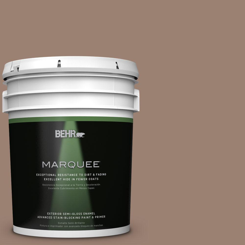 BEHR MARQUEE 5-gal. #N190-5 Frontier Brown Semi-Gloss Enamel Exterior Paint
