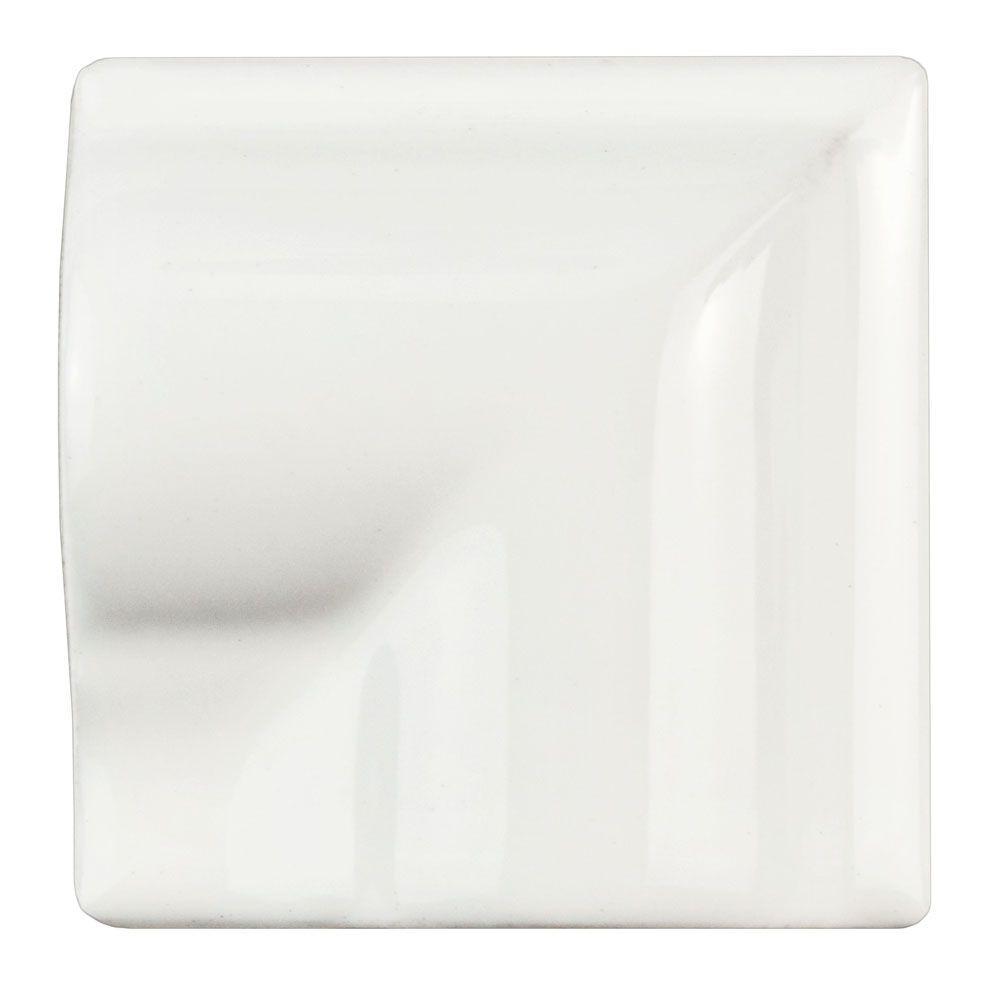 Merola Tile Antigua Blanco 2 in. x 2 in. Ceramic Moldura ...