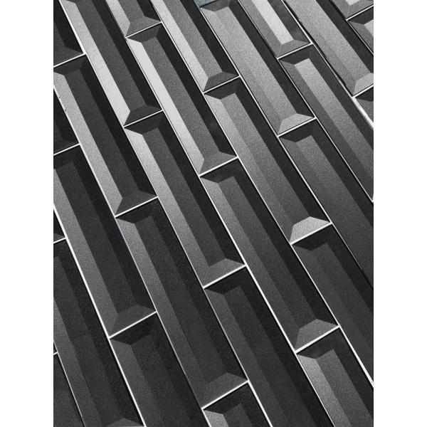 Abolos Forever Eternal Gray Deco 2 In X 8 In Glossy Inner Beveled Glass Wall Tile 9 Pk Hmdfob0208 Eg The Home Depot