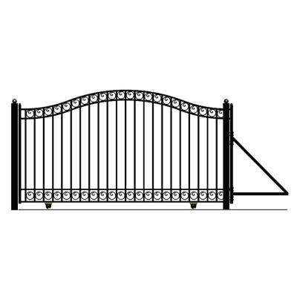 Dublin Style 16 ft. x 6 ft. Black Steel Single Slide Driveway Fence Gate