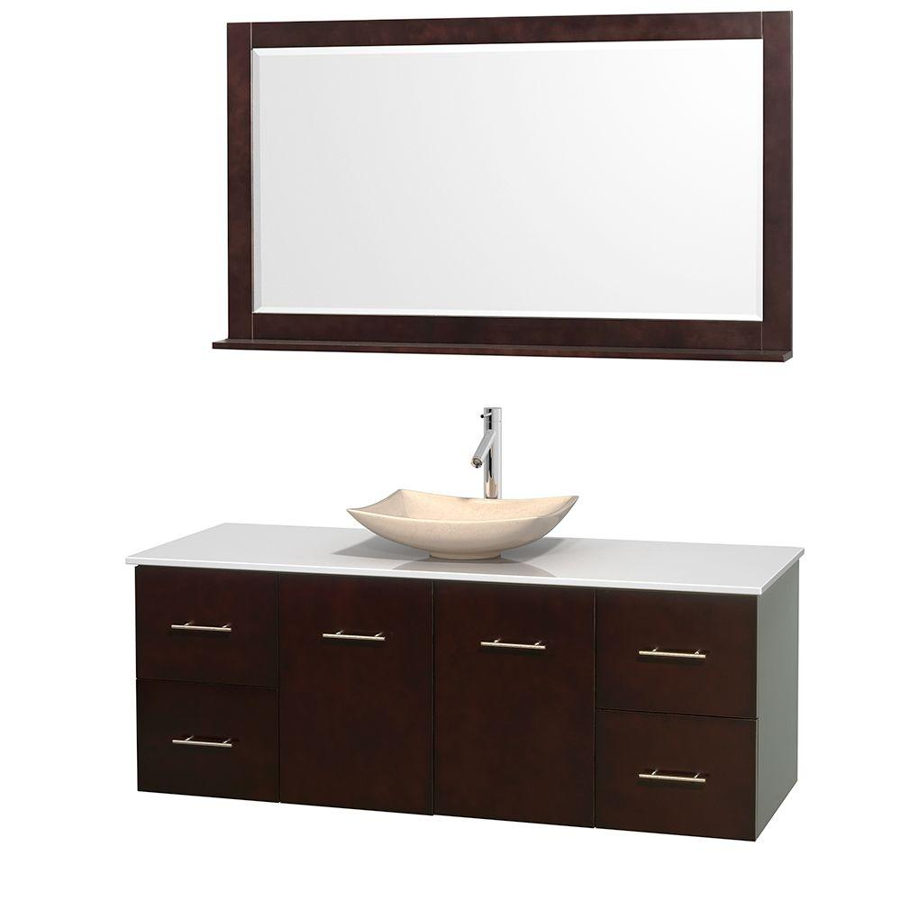 Centra 60 in. Vanity in Espresso with Solid-Surface Vanity Top in White, Ivory Marble Sink and 58 in. Mirror