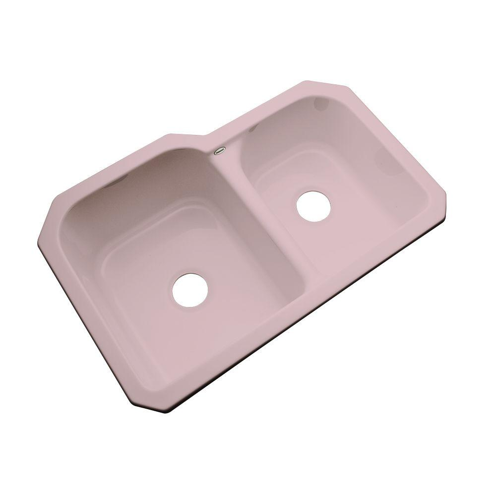 Thermocast Cambridge Undermount Acrylic 33 in. 0-Hole Double Basin Kitchen Sink in Wild Rose