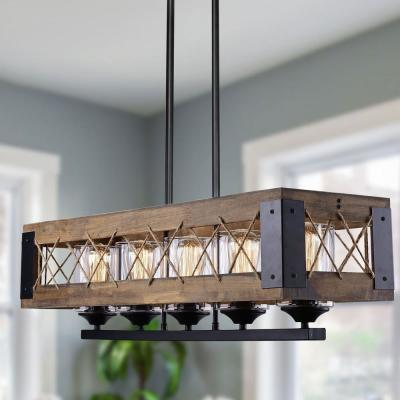 Siay 5-Light Black Modern Farmhouse Wood Chandelier Dining Room Pendant Lighting with Clear Glass Shade LED Compatible