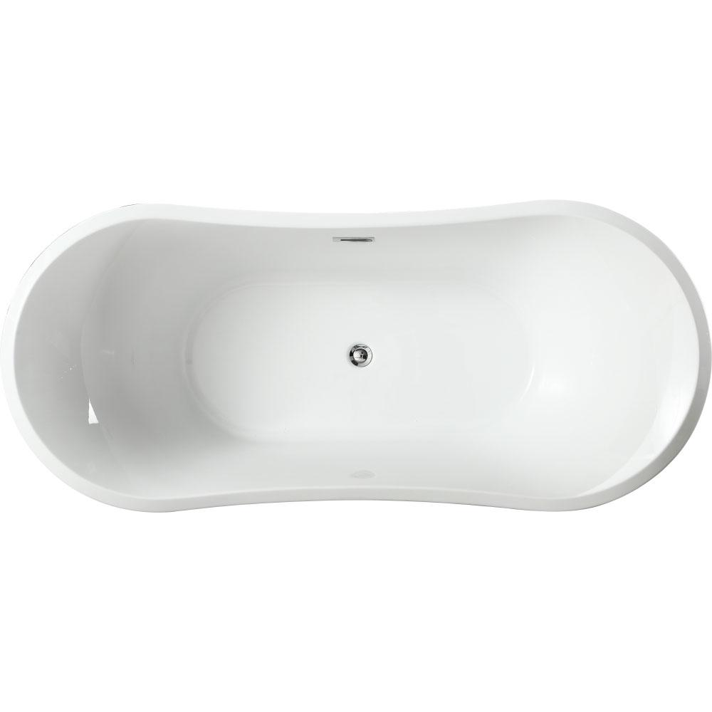 Ancona 71.04 in. Acrylic Flatbottom Non-Whirlpool Freestanding Bathtub in Glossy
