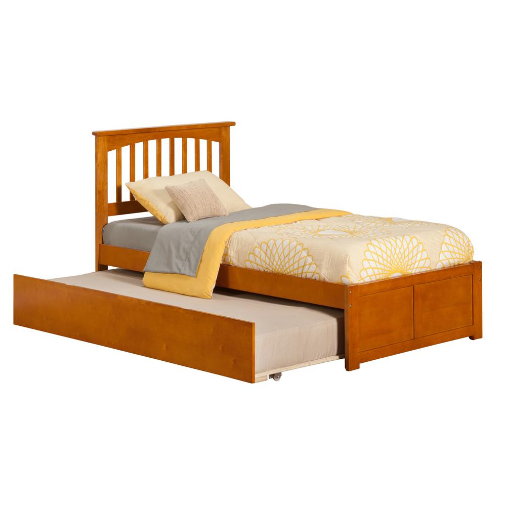 Atlantic Furniture Mission Espresso Twin Platform Bed With Flat Panel Foot  Board And 2 Urban