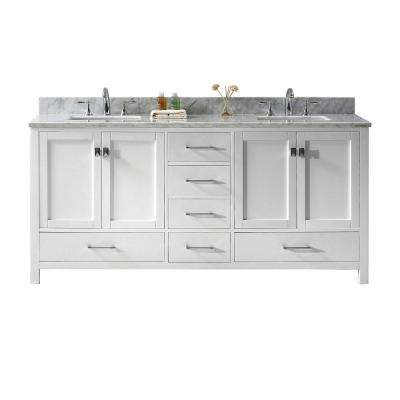 Caroline Avenue 72 in. W Bath Vanity in White with Marble Vanity Top in White with Square Basin