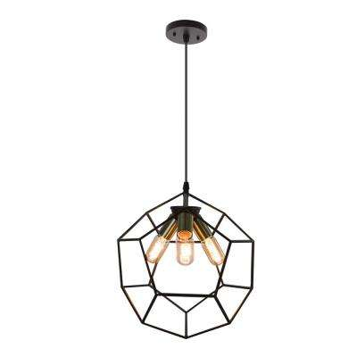 Palermo 3-Light Oil Brushed Bronze Cage Vintage Style Hanging Pendant