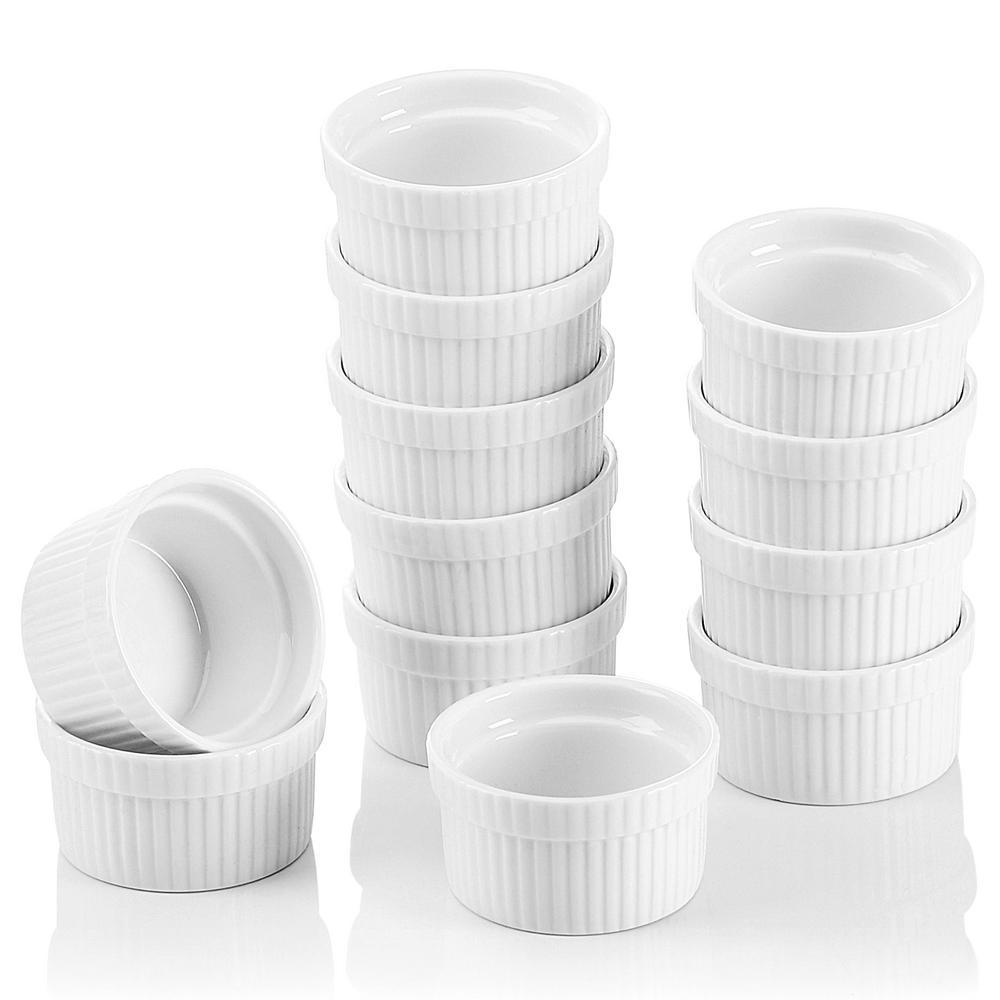 2.75 in. White Ceramic Ramekins Souffle Dishes (Set of 12)