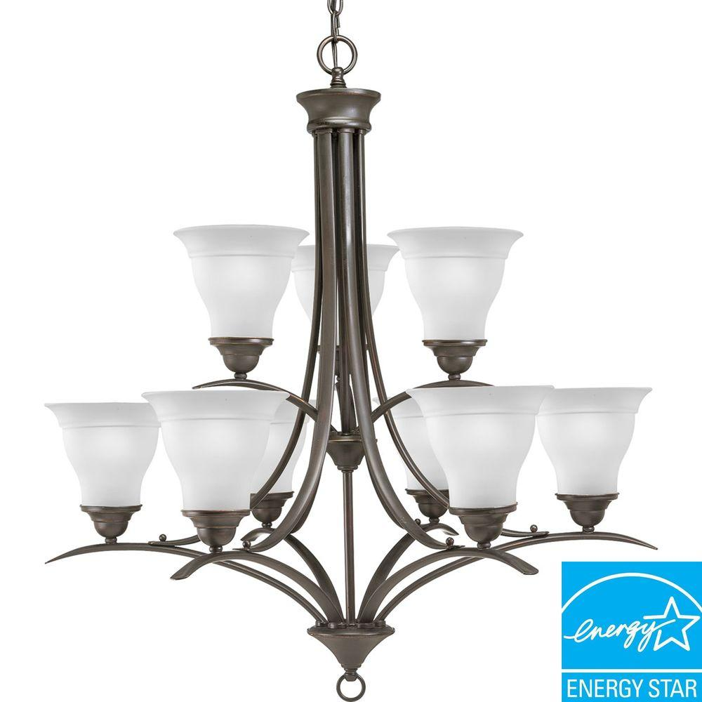 Progress Lighting Trinity Collection 9-Light Antique Bronze Chandelier