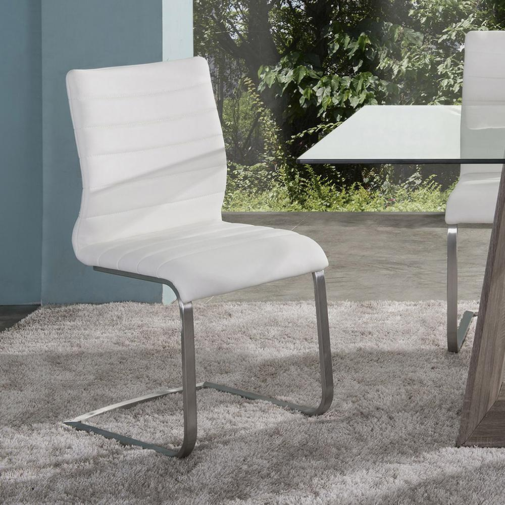 White Faux Leather And Brushed Stainless Steel Contemporary Side Chair